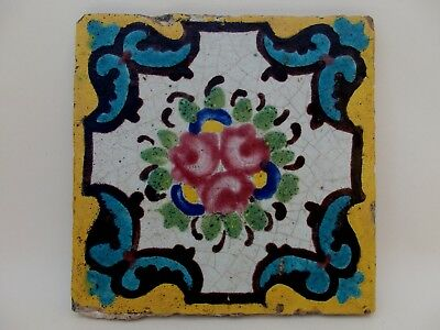 RARE ANTIQUE ISLAMIC PERSIAN QAJAR DYNASTY HAND PAINTED POTTERY TILE 19th CENT