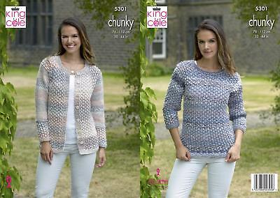 a5757bd70477 King Cole 5301 Knitting Pattern Womens Cardigan and Sweater in Cotswold  Chunky
