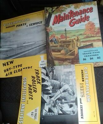 3 old 1950's/60's Caterpillar D2 D4 D6 promotional sales brochures/magazines
