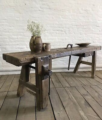 Superb Large Antique French Country Farmhouse Workbench Sideboard Table