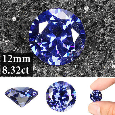 8.32ct AAAA+ Quality Loose Gemstone Unheated Royal Blue Tanzanite 12mm Round Cut