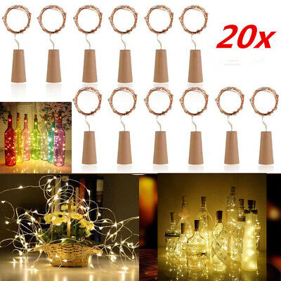 20 x Wine Bottle Copper Wire Fairy String light bulb Cork Battery Operated 20LED
