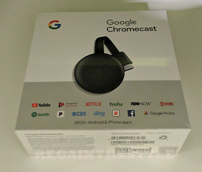 Google Chromecast 3º Gen Digital HDMI Medio Transmisión Dispositivo (2018