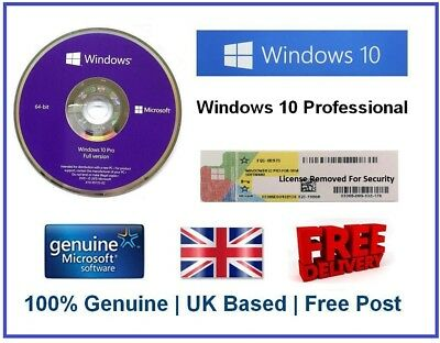 Microsoft Windows 10 Pro Professional Genuine 64-Bit  DVD + COA Sticker License