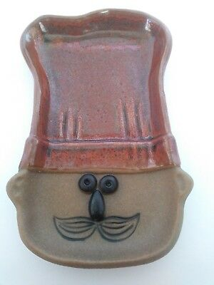 Le Chef Takahashi Stoneware Spoon Rest Handpainted Pottery Face Mustache Cute