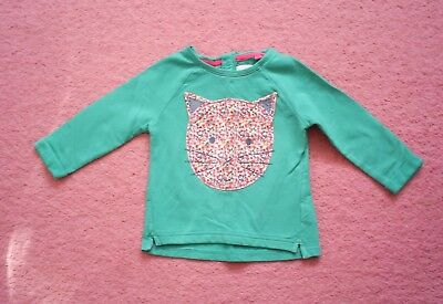 Girls Next Green/Multi Floral Large Cat Motif Long Sleeved Top Age 12-18 months