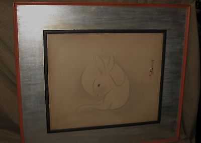 Antique Japanese Woodblock Print Rabbit by Sotatsu 20th century