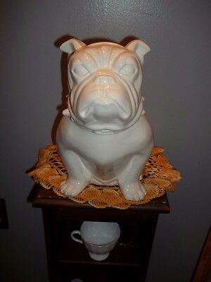 Vtg Inspired CERAMIC Bulldog COOKIE JAR OLD BULLY or Use 4 DOG Biscuits