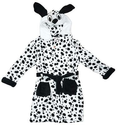 Girls Dressing Gown Dalmatian Bathrobe Puppy Spotty Fleece Hooded 2 to 11  Years ad5303f8d