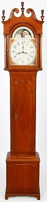 Philadelphia Cherry Chippendale Tall Case Grandfather Clock C. 1800, Eight Day