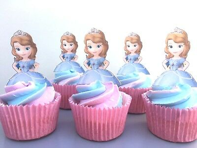 Incredible Large Edible Sofia The First Precut Cake And Cupcake Toppers Funny Birthday Cards Online Necthendildamsfinfo