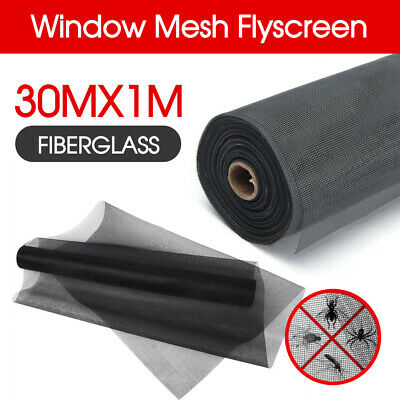 Black Roll Insect Flywire Window Fly Screen Net Mesh Flyscreen 100FT / 30M
