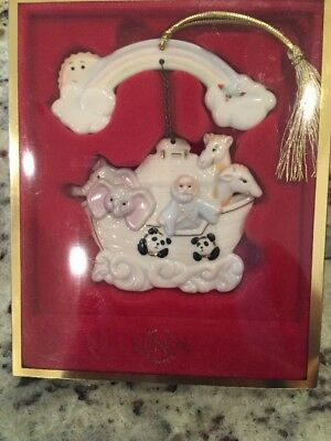 New Vintage Lenox Noah's Ark Ornament Collectable With Rainbow and Gold Tassel