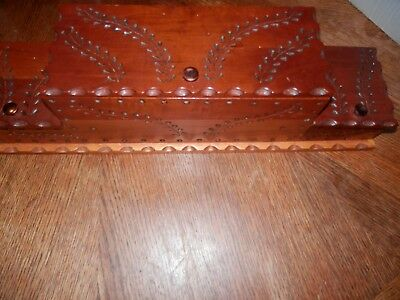 Vintage Carved Wooden Jewelry Box Chest 2 Tier, Beautiful Carving, 20.5 x 5 x 5