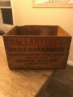 Vintage Ballantines Scotch Whisky Wooden Crate Case Scotland