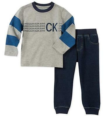 Calvin Klein Boys Gray Logo Top 2pc Pant Size 2T 3T 4T 4 5 6 7