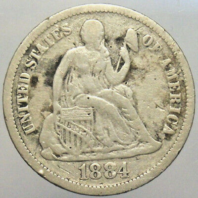 1884 10c Seated Liberty Dime Silver Old US Circulated Collectible Coin