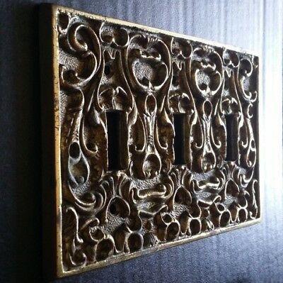 Vintage Solid Brass Triple Toggle Light Switch Plate Cover
