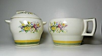 Limoges National Bouquet-T Sugar Bowl & Creamer - Triumph