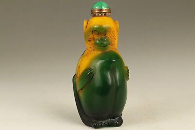 Chinese Old Glaze Handmade Carved Monkey Statue Snuff Bottle copper jade lid