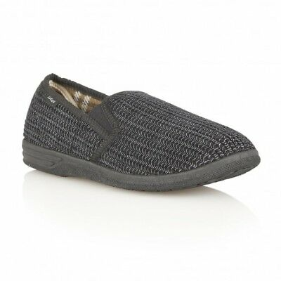 Lotus BEVIS Mens Slip On Warm Elasticated Corduroy Textile Full Slippers Black