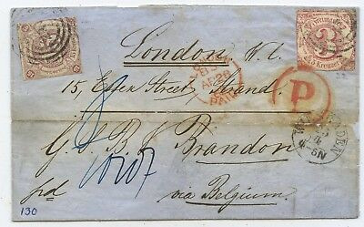 AD Thurn & Taxis Brief Wiesbaden London Großbritannien 1862