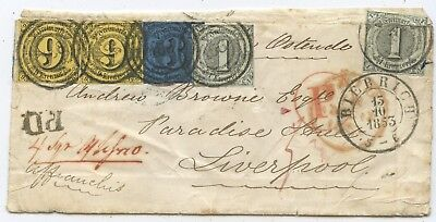 AD Thurn & Taxis PD Brief Biebrich Liverpool Großbritannien 1853