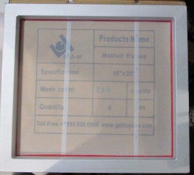"6-PACK GOLD-UP 20"" x 18"" T-SHIRT SCREEN PRINTING FRAMES ALUMINUM 110 MESH COUNT"