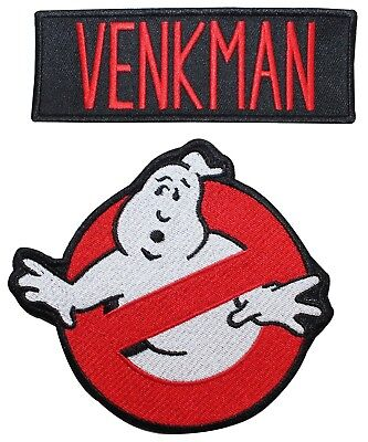 """Ghostbusters """"Venkman"""" Uniform Name Tag & No Ghost Sign Iron On Applique Patch"""