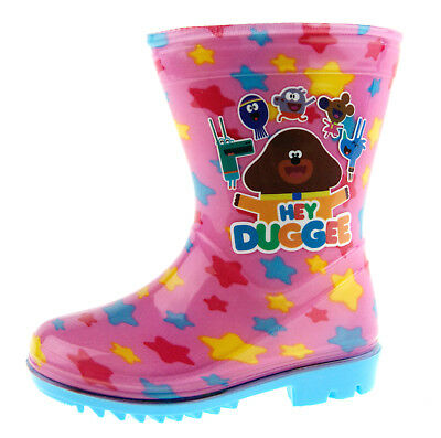 Girls Hey Duggee Wellington Boots Kids Character Snow Rain Wellies Shoes Nursery