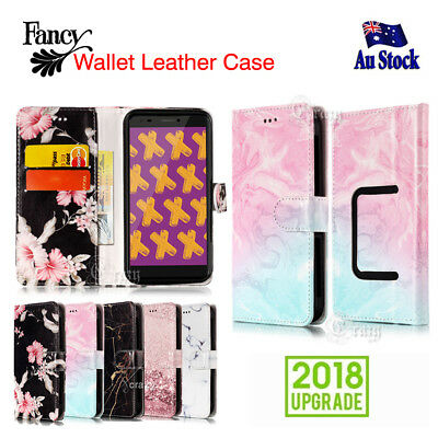 Stylish Wallet Leather Card Slot Flip Universal Case Cover for Optus X Power