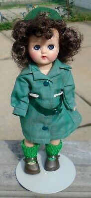 """Vintage Traditional Girl Scout 8"""" Tall Hard Plastic Doll w/Blue Open/Close Eyes"""