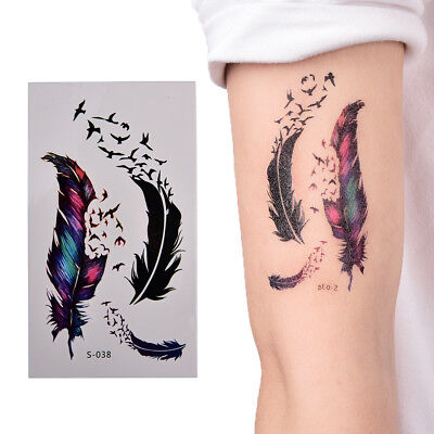 Large Feather Pattern Removable Waterproof Temporary Tattoo Body Arts Sticker QZ