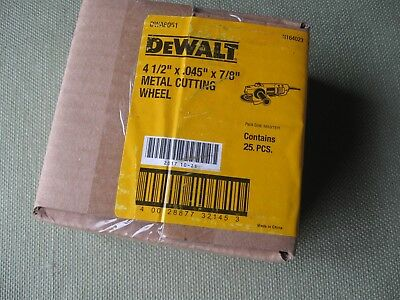 "(Lot of 25) DeWALT 4-1/2"" Metal Cut Disc Wheel for 7/8 Arbor Grinder"
