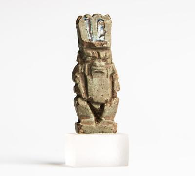 Provenanced Egyptian amulet of the dwarf god Bes 4th-1st century BC.
