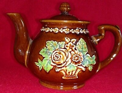 Brown Glazed Red Clay Hand Painted/embossed Teapot- Japan -Vintage