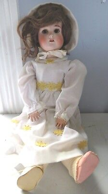 "Antique German 21"" Bisque Head Comp Body Doll Unknown Maker"