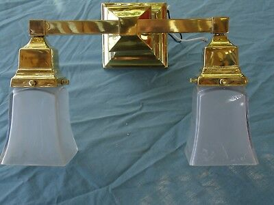 Antique Mission, Arts and Crafts Sconce, Frosted Glass Shades