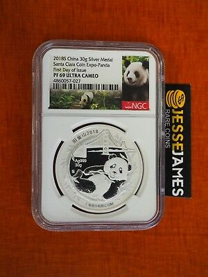 2018 China Proof Silver Panda Ngc Pf69 First Day Of Issue Santa Clara Coin Expo