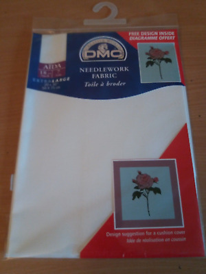 "DMC NEEDLEWORK FABRIC AIDA 712 BEIGE 18ct 20"" x 30"" 50cm x 75cm LARGE PACK"