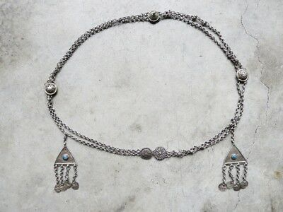 Antique Persian Alpaca Silver Hand Made Belt with turquoise very *RARE*