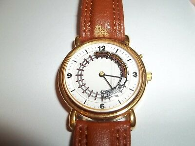 NIP Moving Train Watch Novelty Collectible Railroad Leather Band Realistic Sound