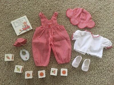American Girl Retired Bitty Baby Bear At Play Outfit Blocks Book Hat