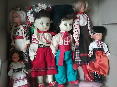 Ukrainian Dolls Lot of 6 Hand Embroidered Sewn Costumed Dress Vintage Collection