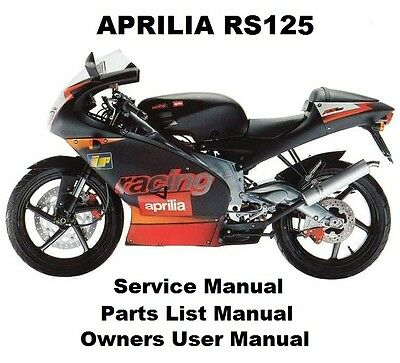 APRILIA RS125 Service Repair Workshop Parts List Owners Manual PDF on CD-R RS