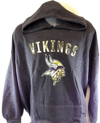 online store 8570f 0d9fc NEW MENS NFL Majestic Minnesota Vikings Charcoal Pullover Fleece Football  Hoodie