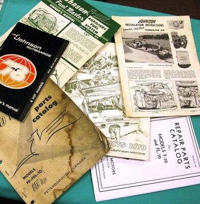 Vintage Johnson Outboard Boat Motors 6-piece Lot Manuals Parts Products Catalog
