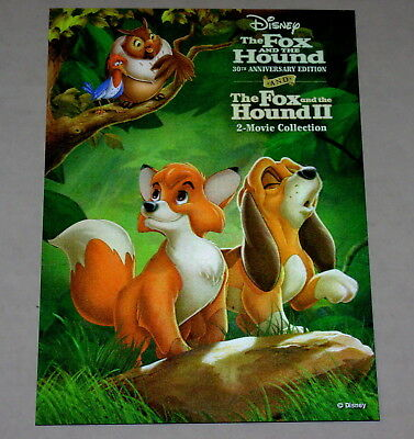 Disney Movie Club 3D Lenticular Card The Fox and the Hound 1 & 2 I II collectors