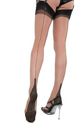 GIO Fully Fashioned Stockings Full Contrast Bi-Color Seamed Nylons