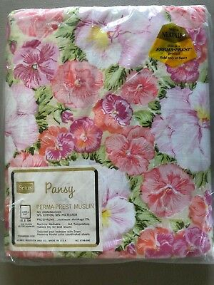 Sears Perma Prest Muslin Vintage Flat Double Bed Sheet No Iron Floral Pansy